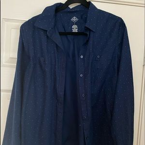 Navy Blue Button Up Collared Shirts